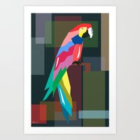 parrot Art Prints featuring parrot by mark ashkenazi