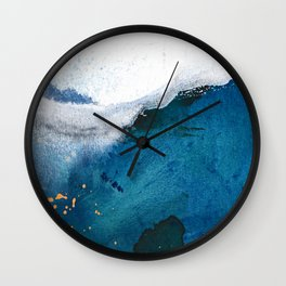 In the Surf: a vibrant minimal abstract painting in blues and gold Wall Clock