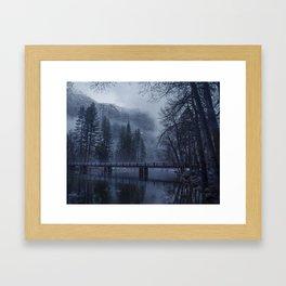 Swinging Bridge over Merced River in Yosemite National Park in the blue of the Early morning Framed Art Print