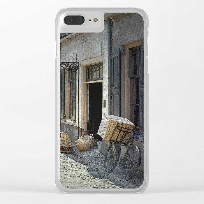 Bicycle on a street by the Zuider Zee in the Netherlands Clear iPhone Case
