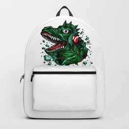 Dino with Headphones Green British Racing Backpack