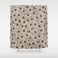 daisies Shower Curtains featuring Daisies by Marta Li