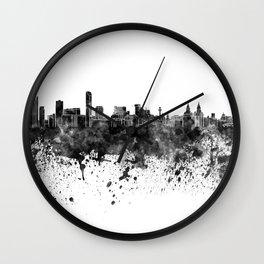 Liverpool skyline in black watercolor Wall Clock