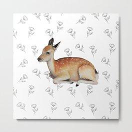 Deer and Poppies Metal Print