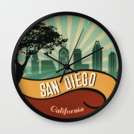 San Diego City Skyline California Retro Vintage Design Wall Clock