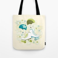roller derby Tote Bags featuring Roller Derby Rumble by Wild Notions