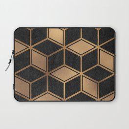 Charcoal and Gold - Geometric Textured Cube Design II Laptop Sleeve