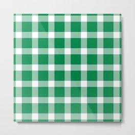 Plaid Emerald Green Metal Print