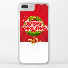 Merry Christmas Pillow Clear iPhone Case