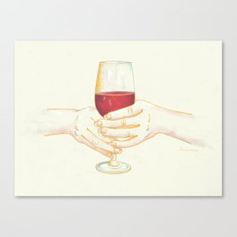 It's Wine Time - Women Holding Wine Glass Canvas Print