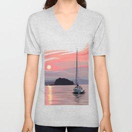 Smooth Sailboat Sunset Unisex V-Neck