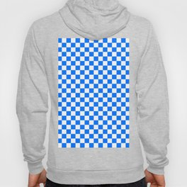 White and Brandeis Blue Checkerboard Hoody