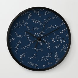 Berry Branches Pattern in Blue and Pink Wall Clock