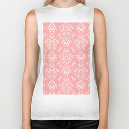 White And Coral Vintage Damask Pattern - Mix & Match with Simplicity of Life Biker Tank