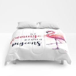 Be a Flamingo Watercolor Animal Typography Comforters