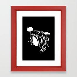 Drum Kit Rock Black White Framed Art Print