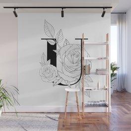 Monogram Letter U with Rose Line Art  Wall Mural