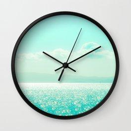 Winter Aqua Sparkling Seashore Wall Clock