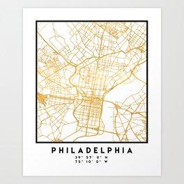 PHILADELPHIA PENNSYLVANIA CITY STREET MAP ART Art Print