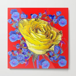 RED ART YELLOW ROSE BLUE MORNING GLORY FLOWERS Metal Print