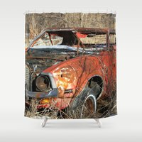 mustang Shower Curtains featuring Red Mustang by RangerTman