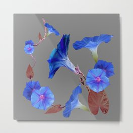 Grey Color Blue Morning Glory Art Design Pattern Metal Print