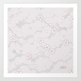 Kumori Nochi Sakura: Pink Art Print