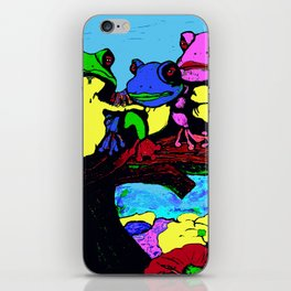 FROG FAMILY HANGING OUT ON A LIMB iPhone Skin