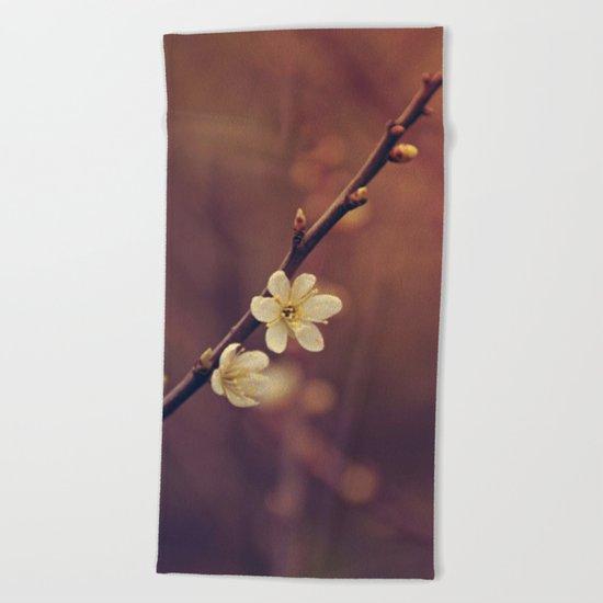 White Cherry blossom Beach Towel
