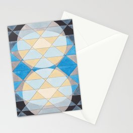 Triangle Pattern No. 14 Circles in Black, Blue and Yellow Stationery Cards