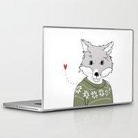 furry Laptop & iPad Skins featuring Furry Fox by Christina Heitmann