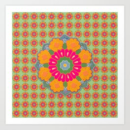 Persian Flowers Pattern V.13 Art Print