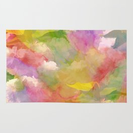 Rainbow Watercolor Floral Abstract Rug