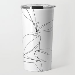 One line minimal plant leaves drawing - Berry Travel Mug
