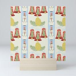 Holiday Pattern of Retro Mid Century Modern Christmas Bells Snowman Pine Cone Branches Mini Art Print