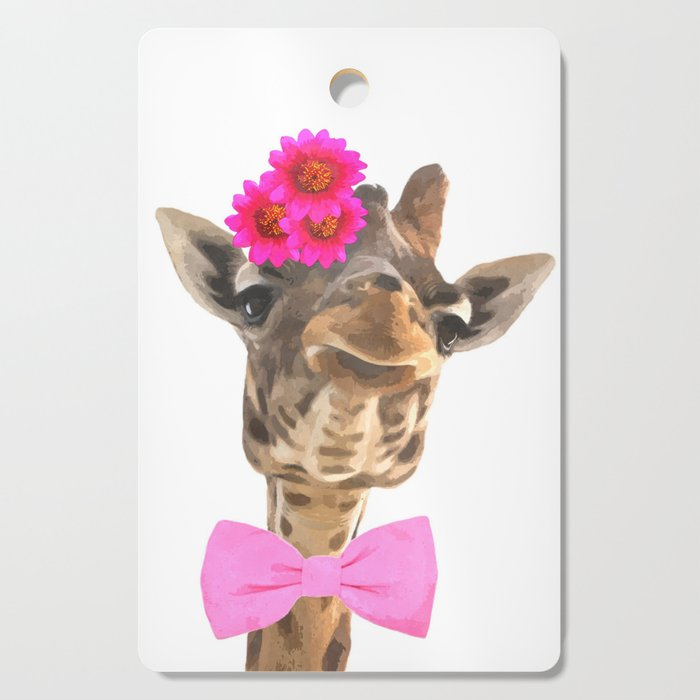 Giraffe funny animal illustration Cutting Board