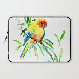 Sun Conure Parakeet, tropical yellow green bird decor Laptop Sleeve