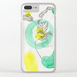 When in doubt, draw a plant Clear iPhone Case