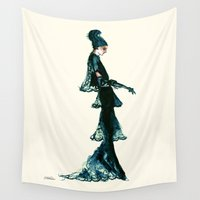 vogue Wall Tapestries featuring Vintage Vogue - Diesel Blue Fashion Dress by Notsniw