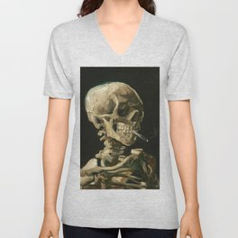 Van Gogh Head of a skeleton with a burning cigarette Unisex V-Neck
