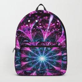 Winter violet glittered Snowflake or flower Background Backpack
