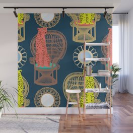 Rattan Cheetah Chairs + Mirrors Wall Mural