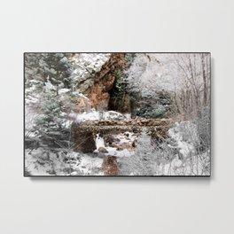 Cobblestone Bridge in Snow Fine Art Photo Metal Print