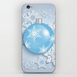 Christmas ball with snowflakes iPhone Skin