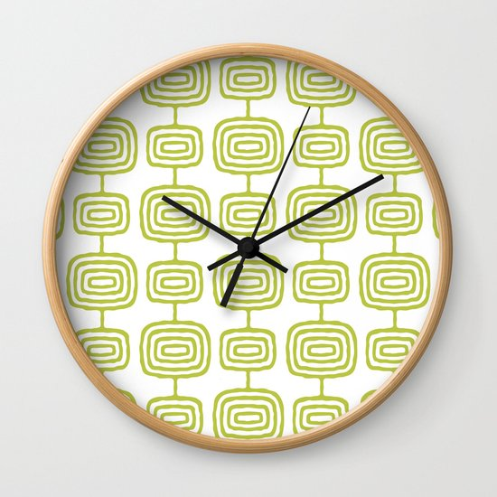 Mid Century Modern Atomic Rings Pattern Chartreuse 3 by tonymagner