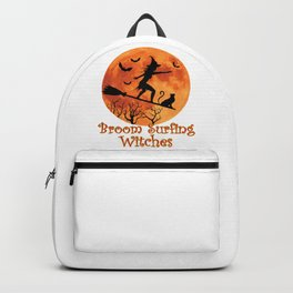 Broom Surfing Witches Halloween Backpack