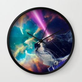Neko San in Space Wall Clock