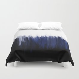 Modern blue cobalt black oil paint brushstrokes abstract Duvet Cover