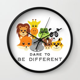 Dare to Be Different Gang of Animals Wall Clock