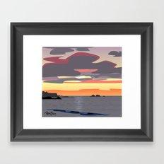 CA coast sunset Framed Art Print
